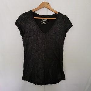 American Eagle Soft V Neck Tshirt Black Sparkle M